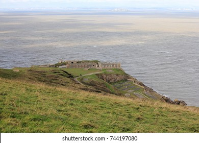 Brean Down Fort,Somerset, England - October 28, 2017: Decommissioned Fort at the end of the Limestone Promontory on the Bristol Channel.During World War II it was used for experimental weapons testing