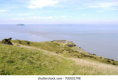 Brean Down(natural Pier) looking towards Victorian Fort at tip and south Wales in distance
