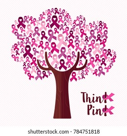 Breast cancer awareness month concept illustration for support. Tree made of pink campaign ribbons with positive text quote.