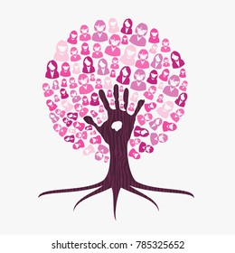 Breast cancer awareness month concept illustration for help and support. Tree made of pink helping hand.