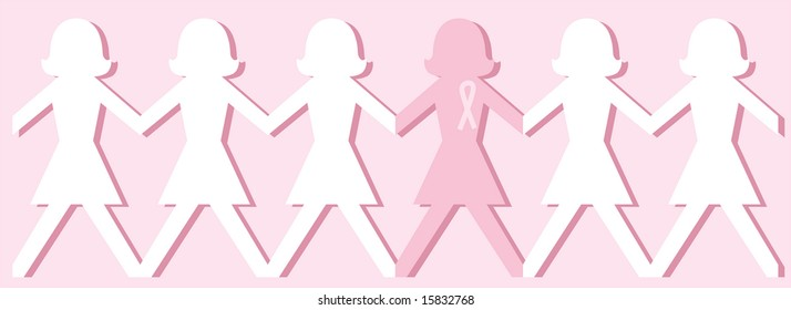 Breast cancer awareness paper doll chain illustration