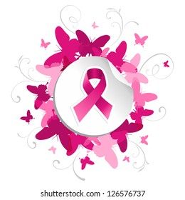 Breast cancer awareness pink ribbon in sticker over spring background.