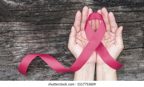 Breast cancer awareness pink ribbon for Wear pink day charity in october month for woman health and patient survivor fighting with breast tumor illness (bow isolated with clipping path)