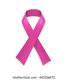 Breast Cancer Awareness Pink Ribbon. 3D rendering