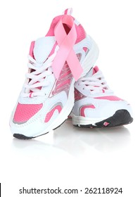 Breast Cancer Awareness ribbon on joggers