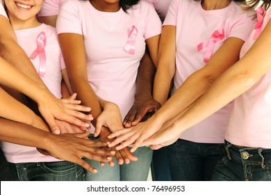 breast cancer awareness women joining hands for support