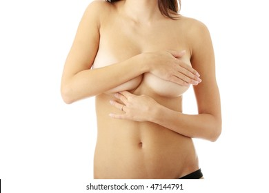 Breast cancer concept over white background