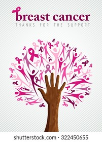 Breast cancer support illustration of tree made with pink silhouette and ribbon collage for poster or campaign.