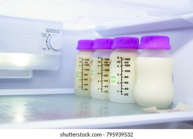 Breast Milk In The Bottle Inside Refrigerator  , Newborn Food Concept