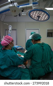 Breast surgery in the operating room.