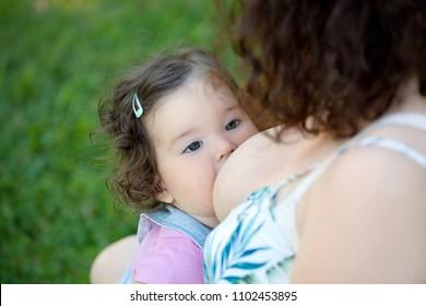 Breastfeeding baby, close up