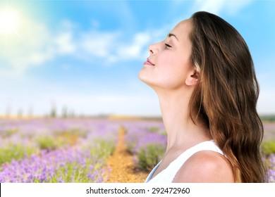 Breathing  woman.