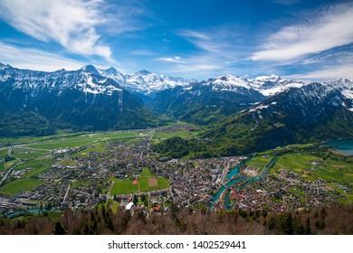 Breathtaking aerial view over Interlaken and Swiss Alps from Harder Kulm View point. Interlaken - popular travel destination in Swiss Alps, Berner Oberland, Switzerland