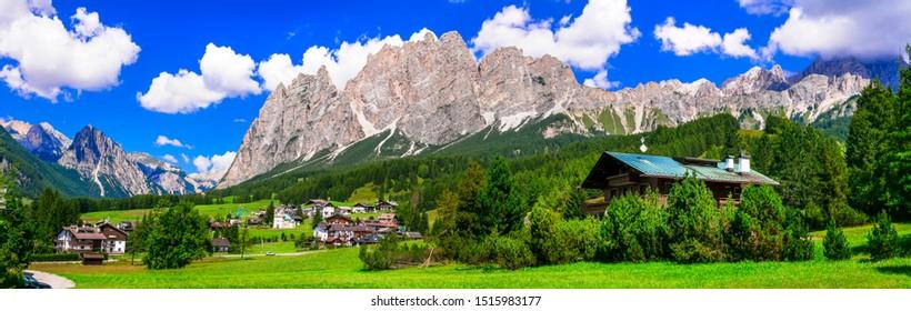 Breathtaking Alpine scenery, Dolomite mountains. beautiful Cortina d'Ampezzo, famous ski resort in northen Italy