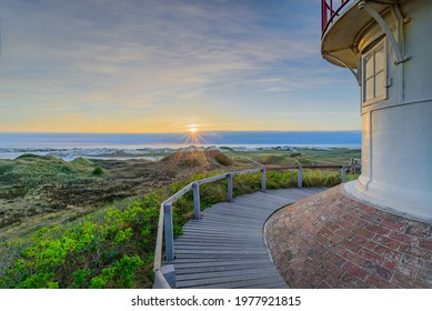 Breathtaking beautiful view of coastal landscape at North sea  from orientation and vantage point, Isle Amrum,Schleswig-Holstein, Germany. Stunning view from Wadden Sea coastline with sandy beach.