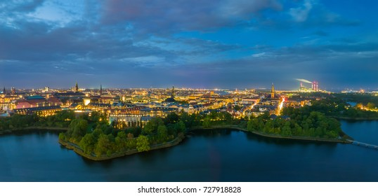 Breathtaking city lights, wide Copenhagen panorama at night