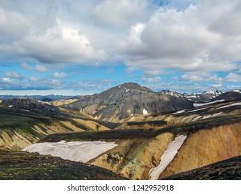 Breathtaking landscape of Landmannalaugar geothermal region with Blahnukur mountain and rhyolite around, South Iceland