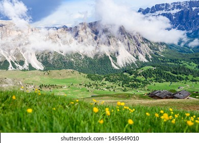 Breathtaking landscape of Secada, Ortisei, Italy. Focus on Dolomite mountain and blurred foreground of yellow wild flower field