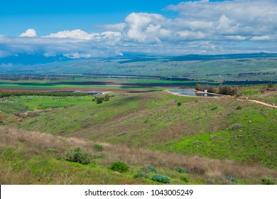 Breathtaking landscape view of the Golan Heights (Ramat Ha-Golan) with mountains, hills and agriculture fields. Syrian border