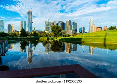 breathtaking Mirrored reflection Skyline Cityscape of Modern Downtown Skyscrapers of capital city of Austin , Texas , USA at Butler Park