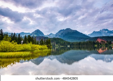 Breathtaking mountain views and a quiet lake chained the viewer's eye. wildlife inspires.in Strbske Pleso lake, Slovakia, Tatra mountains.