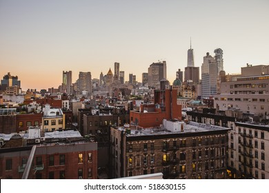 Breathtaking New York City view from a rooftop in downtown. Beautiful skyline seen from a skyscraper in Tribeca.