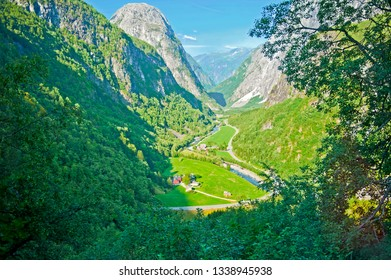 Breathtaking Norwegian landscape on the Stalheimskleiva Road during a bus ride Gudvangen - Voss - Norway in a Nutshell tour.