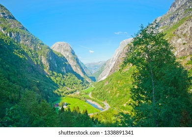 Breathtaking Norwegian landscapes during bus ride Gudvangen - Voss - The Stalheimskleiva Road - Norway in a Nutshell tour.