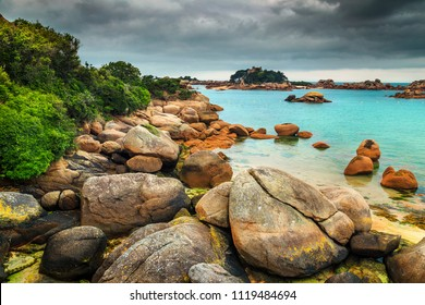 Breathtaking ocean coastline with colorful rocks and spectacular beach, Perros-Guirec, Brittany region, France, Europe