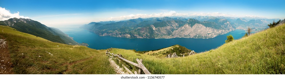 breathtaking outlook to garda lake from the top of monte baldo mountain, north italy