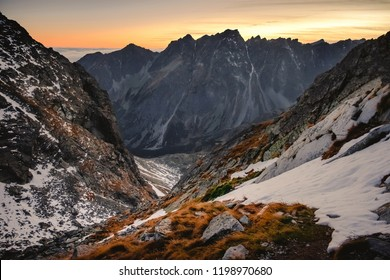 Breathtaking panorama of mountain landscape at sunset from house under Rysy peaks at sunset, Slovakia.