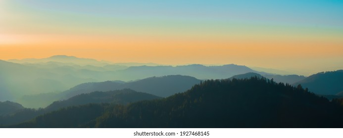 Breathtaking panorama of sunset and landscape in the Black Forest at the viewpoint Roßbühl refuge Oppenau,  Oppenauer Steige