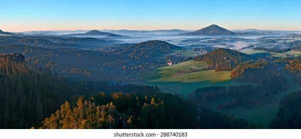 Breathtaking panoramatic view from Maria's rock in Czech Schwitzerland national park.