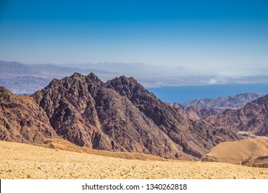 Breathtaking Panoramic view of Mount Salomon 'Har Shelomo' (Hebrew) in Eilat Mountains and the Gulf of Aqaba, Red Sea, South Israel