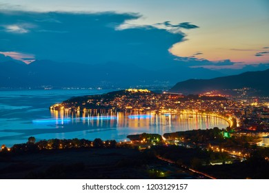 Breathtaking panoramic view of Ohrid city and Ohrid lake on sunset.  The town and the whole region are under UNESCO world heritage. The best place for your holiday in Macedonia.