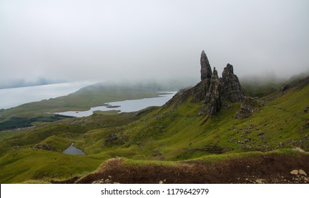 Breathtaking panoramic view of Old Man of Storr, Isle of Skye, Scotland, Cloudy summer day
