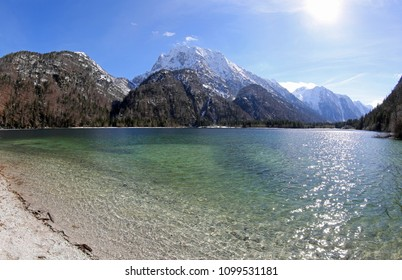 breathtaking panoramic view of Predil Lake in Northern Italy near Austrian Border and Tarvisio Town