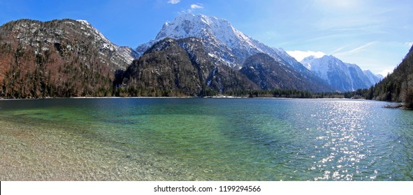 breathtaking panoramic view of Predil Lake in Italy near Austrian Border and Tarvisio Town