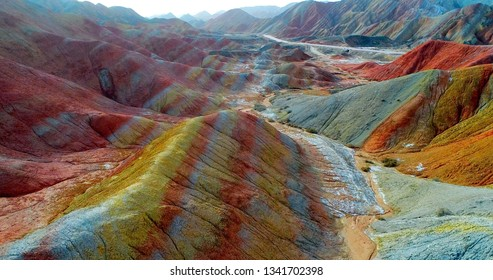 Breath-taking rainbow mountains. Aerial image showing the most beautiful valley in Zhangye National Geopark. Zhangye Danxia in Gansu Province, China. One of the most beautiful landscapes on earth.