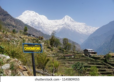 Breathtaking scene at Chhomrong Hill, path to Annapurna Base Camp, Nepal.