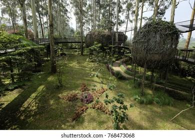 Breathtaking scene at Dusun Bambu, Lembang, Bandung, Indonesia.