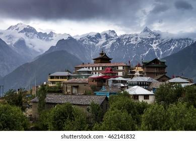 Breathtaking scenery view of Kalpa region of Kinnaur Kailash, rural village with mountain peaks terrain, Himachal Pradesh, northern India.