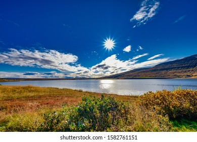 breathtaking sky reflected in the water, copy space, Icleand