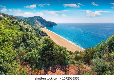 Breathtaking spring view of Milos Beach. Exciting morning seascape of Ionian sea. Aerial outdoor scene of Lefkada Island, Greece, Europe. Beauty of nature concept background