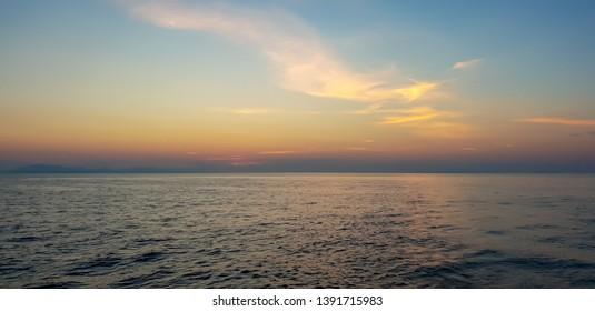 Breathtaking sunrise on the Adriatic sea in Croatia, close to Dubrovnik on the island Mljet, perfect destination for a sailing tour