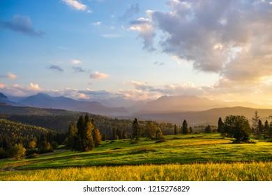Breathtaking sunset at Belianske Tatras mountains.