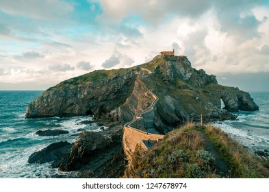 breathtaking sunset in Gaztelugatxe. Basque Country, Spain.