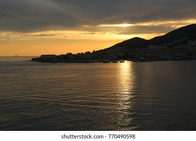 the breathtaking sunset on the Iles Sanguinaires Bloody Islands near Ajaccio, Corsica, France