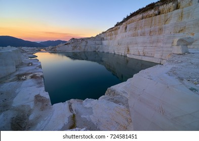 Breathtaking sunset over marble lake in Macedonia