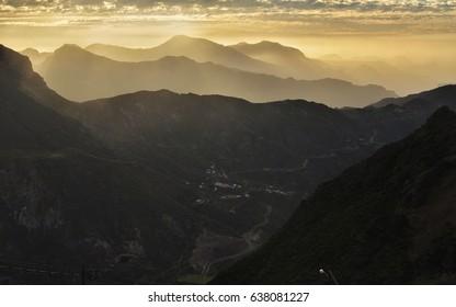 Breathtaking sunset view on Cruz de Tejeda mountain - Gran Canaria Canary island in Spain